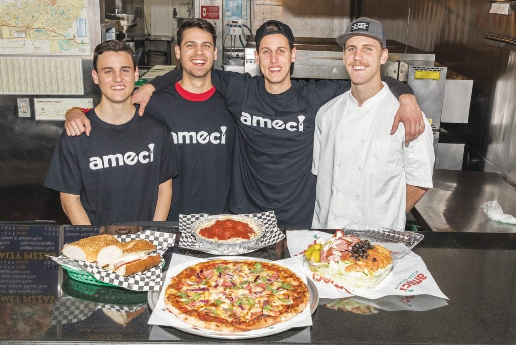 EXTRA TOPPINGS—The Ekblad brothers of Newbury Park recently purchased the Ameci Pizza franchise in Camarillo. The entrepreneurs are, from left, Chris, Steve, Nick and Tim. STEVE GELDMAN/Acorn Newspapers